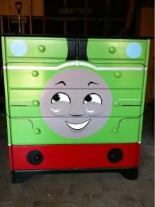 So cute! Thomas dresser. Room Ideas Bedroom, Kids Bedroom, Lauren Diy, Thomas Bedroom, Train Bedroom, Painted Drawers, Crafts For Boys, Thomas The Train, Man Room