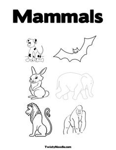 Mammals Coloring Page From TwistyNoodle