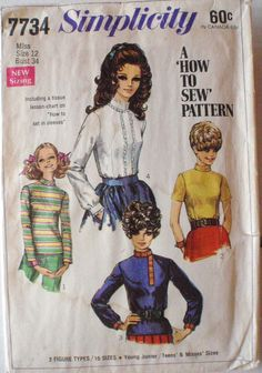 Women's 1960's Sewing Pattern - Turtleneck Blouses - Simplicity 7734 - Size 12, Bust 34