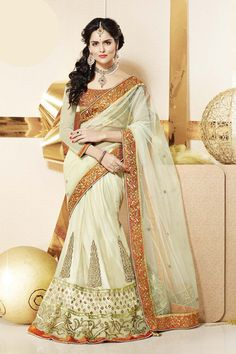 Off White Net Lehenga Saree