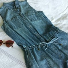 ⚡SALE⚡ Ralph Lauren Denim Jean Utility Romper Ralph Lauren Denim Utility Romper Jumpsuit Size 6 A waist-whittling drawcord belt and relaxed fit make this faded denim romper from Lauren Ralph Lauren ideal for a casual stroll or running errands.  Point collar, sleeveless, partial front button placket Two chest patch pockets, two angled hip patch pockets. Drawstring waist with tie closure, faux fly. Box pleat at back yoke, two back sit pockets. Cotton. Hand wash Ralph Lauren Pants Jumpsuits…