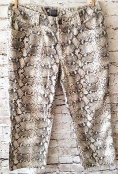 "Chico's Snakeskin Crop Pants Size 0.5 / US 6 Cotton Stretch Print Capri 30 x 23""…"