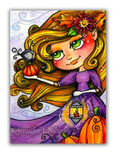 """""""Autumn Greeting"""" ~ Created on cold press paper in watercolor, colored pencil, and ink, this original artwork has been titled, dated, and signed on the back - initialed on the front.  - ♥ - ♥ - ♥ -  ACEO stands for Art Cards Original and Editions. Each ACEO measures 2.5 inches x 3.5 inches (..."""