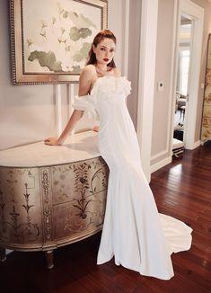 White Bridal Dresses, White Dress, Wedding Dress Train, One Shoulder Wedding Dress, Edgy Outfits, Stylish Dresses, Silk Dress, Clothes For Women, Latest Fashion