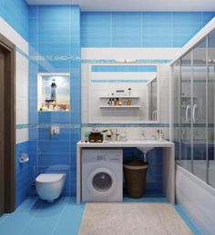 fascinating bathroom design in blue tones with bllue tile wall plus seat toilet corner beside washing machine under table also beige rug on blue tile floor