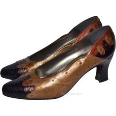 1960s Margaret J ~ Gold & Copper Brown Studded Leather Heels