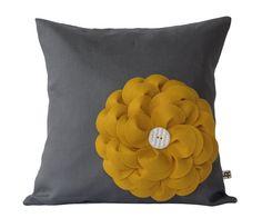 "Mustard Yellow Felt Flower 16"" DESIGNER PILLOW COVER Gray Charcoal Linen Cream Ceramic Button by JillianReneDecor"