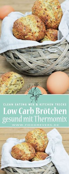 Healthy recipes with Thermomix Low Carb rolls for breakfast. Bake and cook sugar-free breakfast recipes quickly and easily with the Thermomix and Lose weight with clean eating recipes without Fitness Meal Prep, Healthy Meal Prep, Baby Food Recipes, Low Carb Recipes, Healthy Recipes, Sugar Free Breakfast, Breakfast Recipes, Healthy Sugar, Meals For The Week