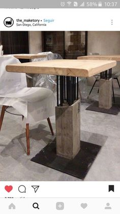 Amazing and Unique Tips and Tricks: Industrial Bar Glass industrial chair window seats.Industrial Table And Chairs. Concrete Table, Concrete Furniture, Concrete Wood, Concrete Design, Steel Furniture, Unique Furniture, Industrial Furniture, Diy Furniture, Furniture Design
