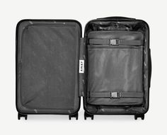"The perfect carry-on: unbreakable (and super lightweight) shell, multi-compartment interior, battery capable of charging an iPhone five times, four 360° spinner wheels. Sized to fit on major airlines at 21.7"" x 13.7"" x 9"".<br />"