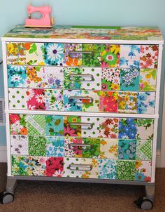 decoupaged drawers I could so do this to my desk drawers at school