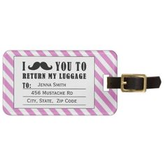 FUNNY MUSTACHE LUGGAGE TAG | PINK STRIPES