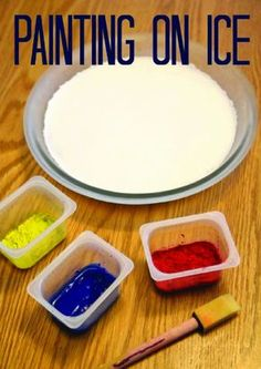 Having a hard time finding something fun to do on a cold winter day? Painting on ice is the perfect solution with minimal cleanup. Bring out the little artist in your toddler with this easy craft.
