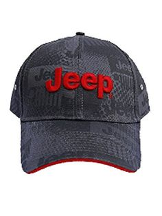df19115b86312 Jeep Charcoal Watermark Cap Red Jeep Text on Center Red Trim on Bill Edge  Grey Jeep Grille Watermark on Cap and Bill Adjustable Velcro Closure