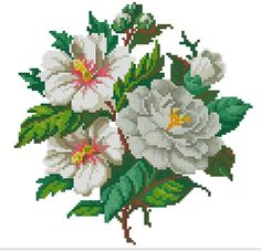 White magnolias vintage digital cross stitch pattern by Smilylana