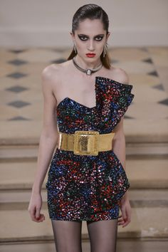 Hedi Slimane looks back to the 80′s to create the ultimate party mini-dress for @YSL.