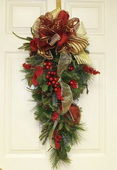 Burgundy Holiday Door Swag - Christmas Door Swag WR4569 by Floral Home Decor, http://www.amazon.com/dp/B0044XI5W4/ref=cm_sw_r_pi_dp_LnqVqb1Q9V903