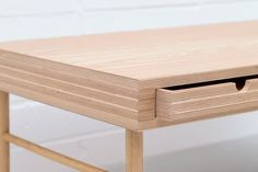 A close up of the drawers and corner joint in Lozi's plywood and solid oak coffee table Plywood Table, Plywood Cabinets, Plywood Furniture, Furniture Design, Kid Furniture, Furniture Stores, Bedroom Furniture, Unusual Coffee Tables, Solid Oak Coffee Table