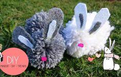DIY Pompom easter rabbit! Tutorial... DIY Pompom Osterhase! Anleitung findest Du... #Ostern #easter #Osterhase #easterrabbit #rabbit #spring #Frühling #bastelidee #DIY #Kinderdiytrends #basteln #Wolle #wool #pompom #crochet #Kinder #Kids #activity #decor #decoration #deko #dekoration