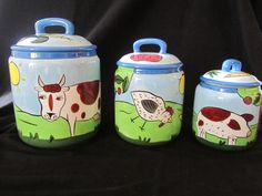 CHALEUR KAREN GELFF Ceramic Pottery Homestead on the Range 3 Canister Set EUC! #ChaleurbyKarenGelff