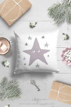 """NEW cute and calming baby throw pillowcase by Otto and Pixels. This kids pillow cover is 18x18 in. Visit my Etsy shop and check it out!  Use code """"PINFRIENDS"""" and get 10% off your order.  #kidspillow #throwpillow #pillowcover #pillowcase #nurserydecor #Scandinavianbaby #kidsroominspo"""