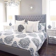Having small living room can be one of all your problem about decoration home. To solve that, you will create the illusion of a larger space and painting your small living room with bright colors c… Bedding Master Bedroom, Cozy Bedroom, Gray Bedding, Master Bedrooms, Tiny Bedrooms, Blue Comforter, Blue Bedrooms, Bedroom Curtains, Linen Bedding