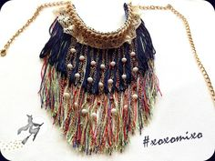 """Virgo"", fringe statement necklace"