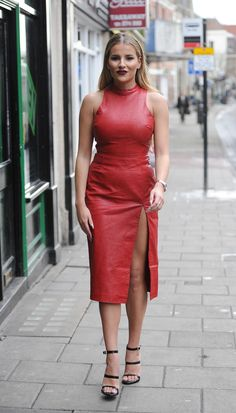 Georgia Kousoulou arrives for TOWIE filming in Brentwood, Essex on March 2017 in London, England. Red Leather Dress, Leather Dresses, Sexy Outfits, Sexy Dresses, Dress Skirt, Bodycon Dress, Leder Outfits, Leather Fashion, Dress To Impress