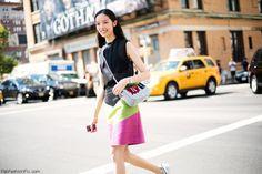 Fei Fei Sun street style at #NYFW.