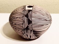 Acoma NM Native American Pottery Seed Pot B/W Signed IVT by JigsandLarry on Etsy https://www.etsy.com/listing/253885078/acoma-nm-native-american-pottery-seed