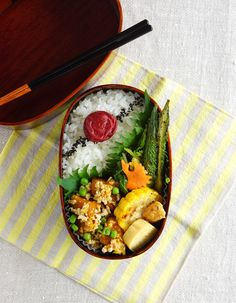 Simmered squash with soboro chicken bento/南瓜のそぼろ煮弁当