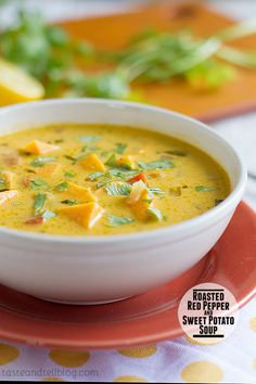 Roasted Red Pepper and Sweet Potato Soup on Taste and Tell - looks delicious!! @Deborah Harroun {Taste and Tell}