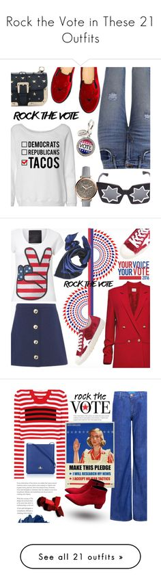 """""""Rock the Vote in These 21 Outfits"""" by polyvore-editorial ❤ liked on Polyvore featuring waystowear, rockthevote, Levi's, Charlotte Olympia, RED Valentino, Markus Lupfer, FOSSIL, Love Moschino, Magda Butrym and Golden Goose"""