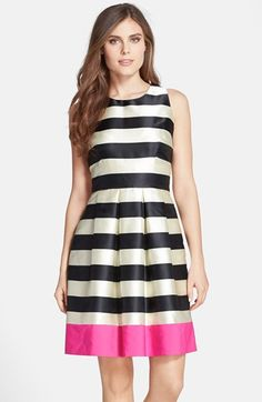 Free shipping and returns on Eliza J Stripe Crepe Fit & Flare Dress at Nordstrom.com. Two-tone stripes gloss a satiny party dress shaped by crisp pleats and punctuated by a final, color-popping chiffon panel encircling the hem.