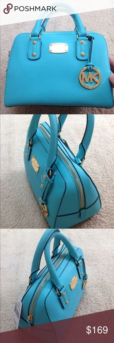Michael Kors Small Saffiano Leather Satchel NWT Michael Kors Small Saffiano Leather Satchel in an Aquamarine color, gold hardware, zip top, brand new with tags.  Originally $239.  Please let me know if you have any questions, thanks for looking! Michael Kors Bags Satchels