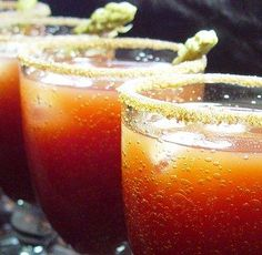 Caesers made with Chili Infused Vodka Vodka Recipes, Cocktail Recipes, Cocktails, Cocktail Drinks, Drink Recipes, Fresh Horseradish, Infused Vodka, Tomato Juice, Bloody Mary