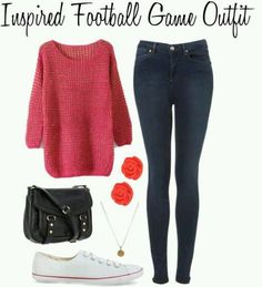 Sweater and sneakers. Football game outfit.polyvore.