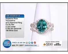 3.12 ct Popsicle Blue Tourmaline Oval & 0.76 ctw Diamond 18K White Gold Ring, Size 6