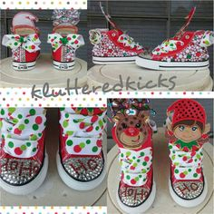Custom Converse Christmas Themed in Girls or Boys. Can be any theme or color scheme Christmas Shoes, Christmas Fashion, All Things Christmas, Christmas Fun, Christmas Outfits, Holiday, Shoe Crafts, Cute Winter Outfits, Hot Shoes