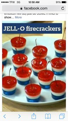 Red, White, & Blue Jell-O Firecrackers