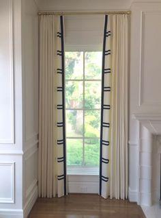 Samuel and Sons Passementerie - grosgrain ribbon detail on Custom Drapes Window Panels, Window Coverings, Stores Horizontaux, Cream Curtains, Samuel And Sons, Hill Interiors, Custom Drapes, Custom Window Treatments, Passementerie