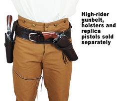 (.44/.45 cal) High-Rider Western Cartridge Belt - Plain Brown Leather