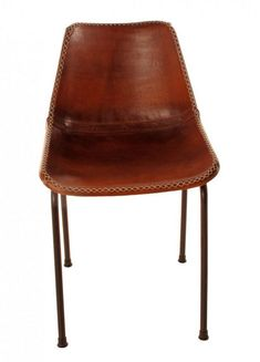 "Stitched Leather Dining Chair with leather covering. Brass Base. As seen in the chic Catskills hotel ""The Arnold House"". Dimensions: 18"" deep x 17"" wide x 31"" tall (19"" seat height). - Materials: hand"