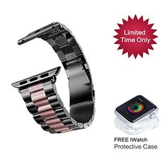 Biaoge Apple Watch Band W Metal Clasp, HOCO Loop Stainless Steel Link Bracelet Replacement Strap Wrist Band for Apple Watch & Sport & Edition (Charcoal Black with Rose Gold 38mm) Biaoge http://www.amazon.com/dp/B00ZC7EI04/ref=cm_sw_r_pi_dp_B.jNvb0ZZ066M