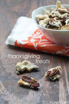 These Thanksgiving Treats taste like the perfect Sweet Potato Casserole topping. They're made by baking marshmallows, pecans, cinnamon and sugar together and then letting them cool and harden into sweet crunchy bites.