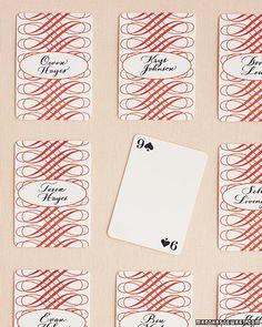 playing card escort card