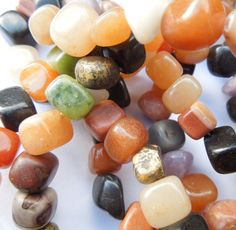 "16"" Jewellery Making Gemstone Nugget Beads Multi Coloured Assortment"