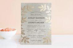 """Folk Filigree"" - Modern, Rustic Foil-pressed Wedding Invitations in Linen by pandercraft."