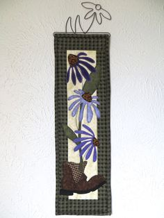 Purple Coneflowers Applique Wall Hanging by ThreadBasket on Etsy