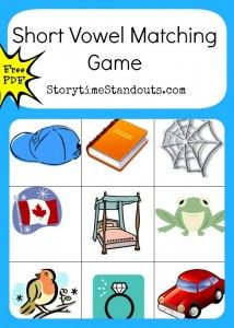 Storytime Standouts offers printables for beginning readers including a Short Vowel matching game Reading Games, Reading Activities, Literacy Activities, Readers Workshop Kindergarten, Rhyming Pictures, Making Words, Phonemic Awareness, Word Families, Matching Games